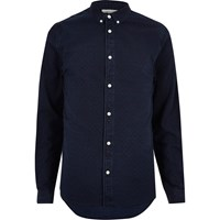 River Island Mens Dark Blue Wash Denim Shirt