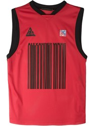 Alexander Wang Logo Barcode Basketball Tank Top Red