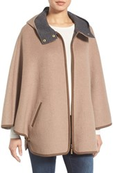 Ellen Tracy Petite Women's Double Face Cape Coat Wheat