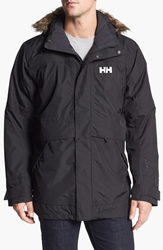 Helly Hansen 'Coastal' Waterproof Parka With Faux Fur Trim Black