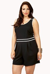 Forever 21 Plus Size Boogie Nights Romper Black White