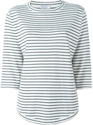 Brunello Cucinelli Striped Three Quarter Length Sleeve T Shirt White