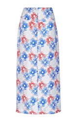 Piamita Silk Printed Celina Button Up Maxi Skirt