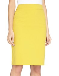 Tahari By Arthur S. Levine Solid Pencil Skirt Mustard Yellow