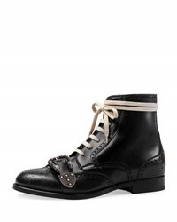 Gucci Queercore Lace Up Brogue Boot W Buckle Black