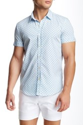 Parke And Ronen Biscayne Printed Short Sleeve Slim Fit Shirt Blue