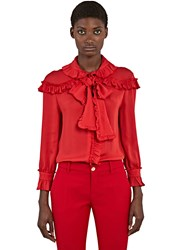Gucci Ruffled Crepe De Chine Shirt Red