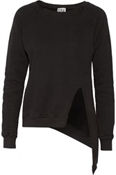 Oak Asymmetric French Cotton Terry Sweatshirt Black