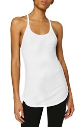 Ivy Park Women's Sheer Ribbed Racerback Tank White