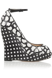 Oscar De La Renta Alaly Snake Effect Leather Wedge Pumps