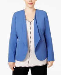 Alfani Plus Size Draped Blazer Only At Macy's Alf Perry Blue