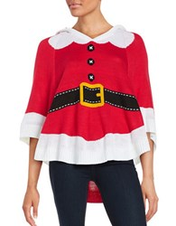 By Design Hooded Santa Poncho Red