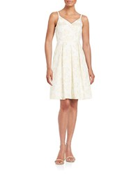 Ivanka Trump Floral Jacquard Fit And Flare Dress Ivory Gold
