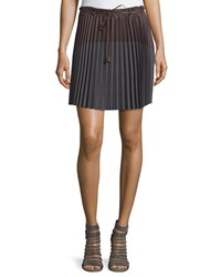 Brunello Cucinelli Colorblock Pleated Skirt Brownie Gray