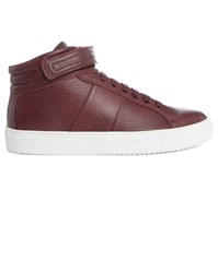 National Standard Burgundy Edition 5 Grained Leather Sneakers