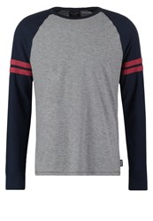 Abercrombie And Fitch Muscle Fit Long Sleeved Top Grey Heritage Navy Dark Blue