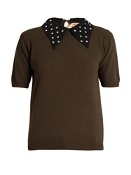 N 21 Embellished Collar Wool Sweater Khaki