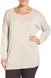 Eileen Fisher Plus Size Women's Crewneck Featherweight Merino Sweater
