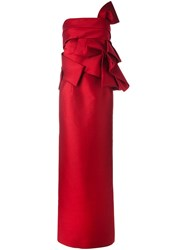 Dsquared2 Cold Shoulder Ruffle Gown