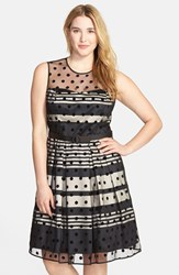 Plus Size Women's Eliza J Stripe Fit And Flare Dress With Dot Mesh Overlay