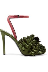 Marco De Vincenzo Velvet Trimmed Ruffled Satin Sandals Army Green