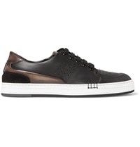Berluti Vitello Suede Trimmed Leather Sneakers Black
