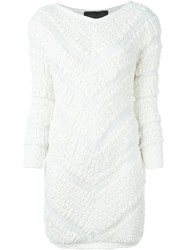 Jay Ahr Chevron Pattern Mini Dress White