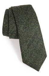 Alexander Olch Men's Herringbone Wool Tie Green