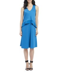 Ellen Tracy Double Layer Tank Dress Blue