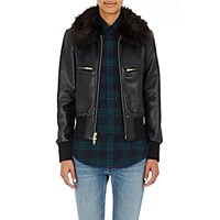 Harvey Faircloth Women's Bomber Jacket With Faux Fur Collar Black Blue Black Blue
