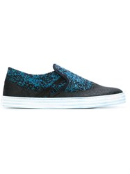 Hogan Rebel Snakeskin Effect Sneakers Black