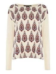 Maison Scotch Long Sleeve Linen Tee With Printed Front Cream