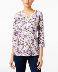 Karen Scott Petite Printed Henley Top Only At Macy's Cassis