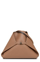 Akris 'Medium Ai' Reversible Leather Shoulder Tote Camel Mocca
