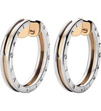 Bulgari B.Zero1 18Ct Pink Gold And Stainless Steel Earrings