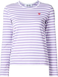 Comme Des Gara Ons Play Striped Long Sleeve T Shirt Pink And Purple