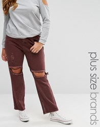 Alice And You Distressed Jean Burgundy Red