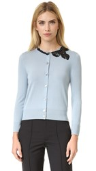 Marc Jacobs Embroidered Classic Cardigan Pale Blue