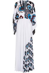 Issa Mouna Printed Plisse Georgette Gown White