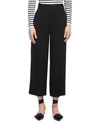 Whistles Cropped Wide Leg Trousers Black