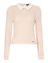 Lipsy Long Sleeved Knit With Shirt Collar Neutral