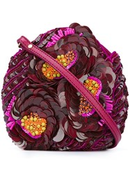 Jamin Puech Sequinned Flowers Clutch Pink Purple