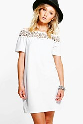 Boohoo Crochet Trim Bardot Shift Dress Cream