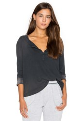 Sundry Distressed Jersey Henley Charcoal