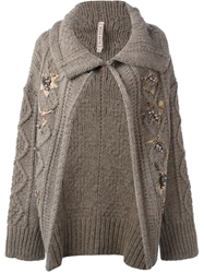 Antonio Marras Embroidered Cardigan Brown