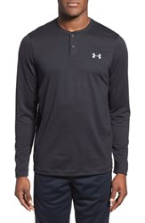Men's Under Armour 'Infrared Coldgear' Loose Fit Long Sleeve Stretch Henley Black Black Steel
