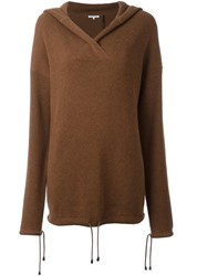 Helmut Lang Hooded Jumper Brown