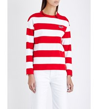 Chocoolate Striped Cotton Jersey Top Red White Stripe