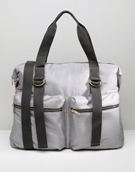 Asos Lifestyle Nylon Zip Pocket Holdall Grey