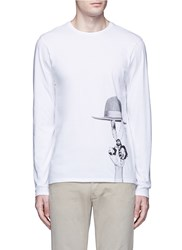 Denham Jeans X Art Comes First Top Hat Print Long Sleeve T Shirt White